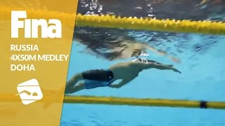 Russia also wins 4x50m Medley #6 Doha