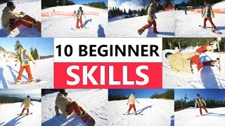 10 Beginner Snowboard Skills - First Day Riding