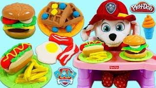 PAW PATROL Pups Feeding Baby Marshall Play Doh Breakfast Hamburger Pizza Ice Cream and More!