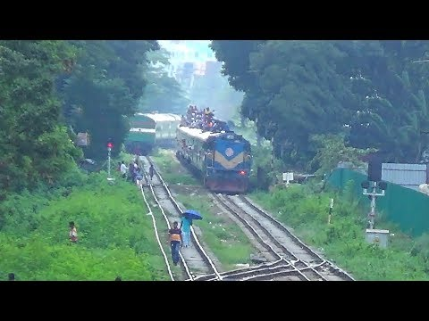 Sirajgang Express  Exit and  Akota Express entering Airport Railway Station