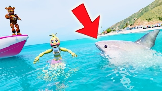 FREDDY SAVES CHICA FROM A SHARK ATTACK! (GTA 5 Mods For Kids FNAF Funny Moments)