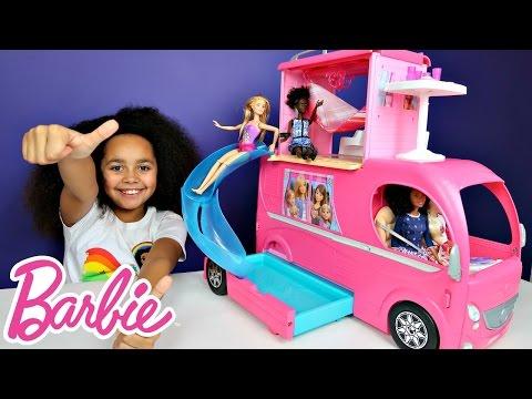 Barbie Pop Up Transform Camper Van RV Swimming Pool Party & Slide - Waterpark Adventure Toy Review