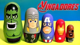 OS VINGADORES Brinquedos Surpresa de Empilhar TOYSBR | Marvel the Avengers Stacking Cups Toys BR