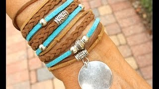 How to Make a Boho Triple Wrap Bracelet - Step by Step DIY Tutorial Bohemian Faux Suede Wrap