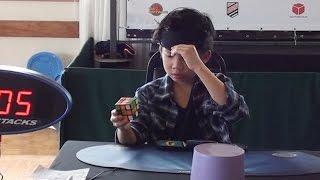 8 Years Old Boy Solves Rubik's Cube Blindfolded 1:44