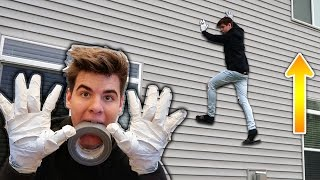 WALL CLIMBING WITH DUCT TAPE HANDS!! | David Vlas