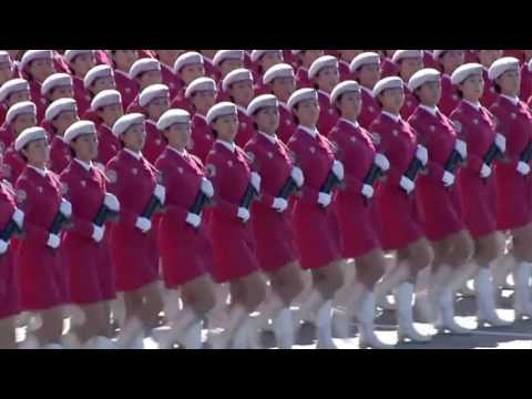 watch Chinese Beautiful Pink Army March Past 中華人民共和國國慶