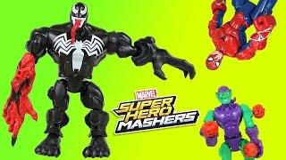 Super Hero Mashers Venom w/ Carnage Claw! Battles Spider-Man & Green Goblin