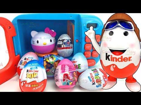 Kinder Man Surprise Eggs and Microwave Toy Appliance Surprises