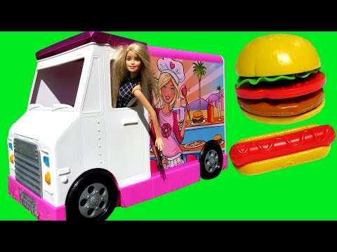 FOOD Truck ELSA & ANNA toddlers & Barbie KETCHUP everywhere Hotdogs Burgers Pizza Sandwich