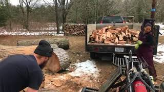 Firewood day! Cutting and splitting together on our RuggedMade 37 ton splitter.