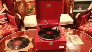 Vintage Portable HMV Gramophone Mod 102 Red