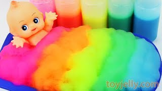 Learn Colors Baby Doll Body Paint Bubble Foam Bath Time Play Doh Ice Cream Cup Baby Finger Family