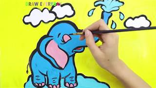 How To Draw and Color Elephant for kids || Draw Everyday