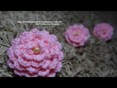 Flor para aplicação em Crochê com Pérola Professora Simone