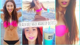 Get Ready With Me! Beach Hair Makeup Outfit + Essentials