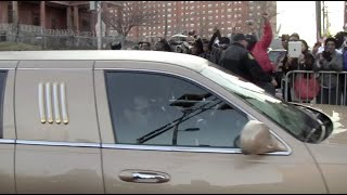 Arrival of Whitney's Family and close friends to wake by police escort