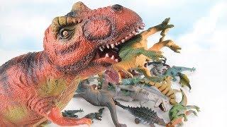 T-Rex Eat Dinosaurs. Learn Names of Dinosaurs For Kids. Fun Jurassic World Dinosaur Toys. 공룡 장난감