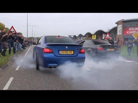 2x BMW M5 E60 V10 w/ Eisenmann Race Exhaust - INSANE BURNOUT!!