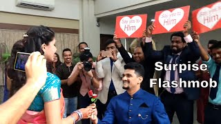surprise flash mob proposal at engagement ceremony dance with friends