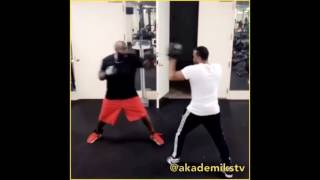 Rick Ross Shows off his Boxing Skills in the Gym.