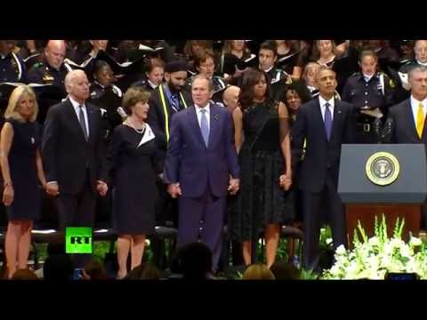 watch RAW: George Bush dancing during Dallas memorial service