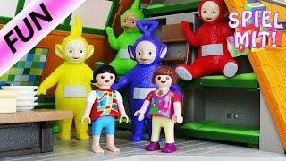 Lena und Chrissis neue Freunde - Die Teletubbies in der Playmobil Luxusvilla | Playmobil Story