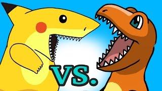 "POKEMON ""My Cute Shark Attack Cartoon"" #28 SHARK PIKACHU vs. DINO CHARMANDER!) Pokemon GO parody!"
