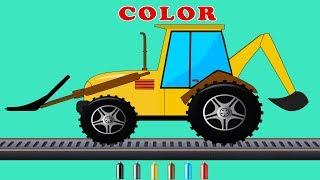 Kids TV Channel | Backhoe Loader |  Learn Colors with Construction Vehicles | Coloring Videos