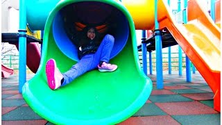 Outside Playground Fun Day on Colorfull Slides - Video for Kids Part #2