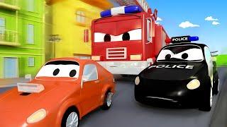 Bilpatrullens brandbil och polisbil - Franks överraskningsfest - Bilköping 🚓 🚒 Tecknade serier