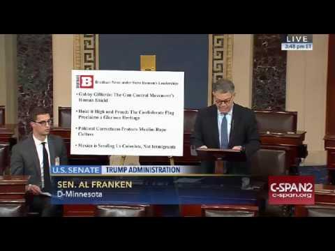 Al Franken SLAMS Steve Bannon and Breitbart News On Senate Floor 11 17 16