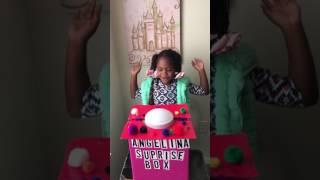 Angelina surprise box with princess tiana at magic kingdom