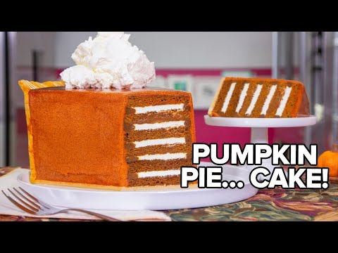 GIANT Pumpkin Pie Slice made of CAKE Thanksgiving Baking w Jordin Sparks How To Cake It