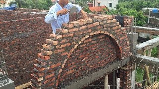 Amazing Smart Techniques Construction Fastest With Bricks - How To Building A Curved Wall Brick Step