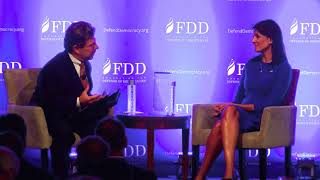 Amb. Haley receives FDD award from Mark Dubowitz & talks with Clifford D. May