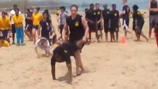 Harold L. Richards High school NJROTC 2014 AREA 3 Beach Games barrel relay race 1st place