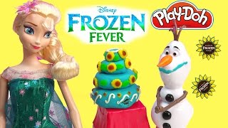 Queen Elsa Frozen Fever Princess Anna Playdoh Birthday Cake Snowman Olaf Parody Play-doh Fun