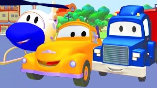 Tom The Tow Truck, Car Patrol and Carl Transform with the Helicopter in Car City | Trucks cartoon