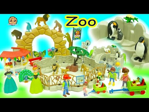 Disney Frozen Queen Elsa Princess Anna Go To Playmobil Animal Zoo Toy Video