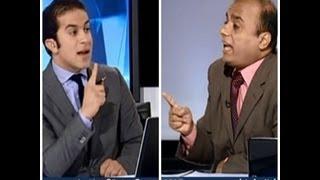 فضيحة قناة الجزيرة و فبركة الاتصالات و تبادل الشتائم بين يسرى العزباوى و مذيع الجزيرة و طرد الضيف