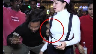 Jacqueline Fernandez Fans Misbehave With Her At Airport