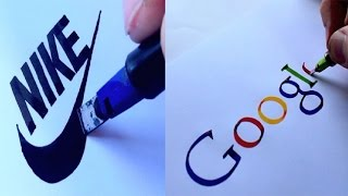 AMAZING CALLIGRAPHY DRAWINGS - FAMOUS BRANDS LOGOS 2016