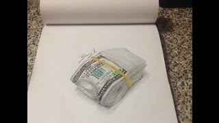 how to draw money 100 dollars