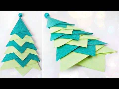 Modular origami  christmas tree diy paper decor 3d made easy tutorial for kids.Fir-tree origami