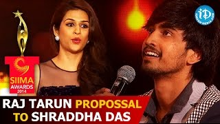 Raj Tarun and Krish. J. Sathaar Funny Propossal to Shraddha Das for KISS @ SIIMA 2014 Awards