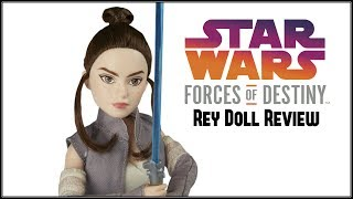 STAR WARS FORCES OF DESTINY REY DOLL REVIEW - OF JAKKU WITH BB8 - THE FORCE AWAKENS