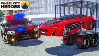 Pulling Camaro with Wrecker Police Truck | Wheel City Heroes (WCH) - New Cartoon
