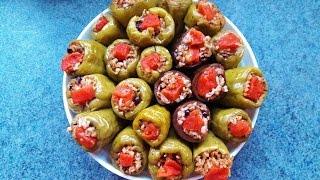 Zeytinyağlı  Biber Dolması Tarifi  -  Turkish Stuffed Peppers in Olive Oil - Bizim Terek