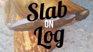 Live-Edge Pine Slab on Log Bench